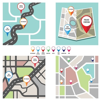 Road map with colorful pin pointer to important public area