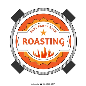 Roasting party retro sitcker