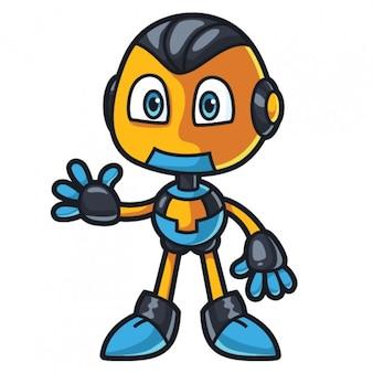 Robot cute character waving hand