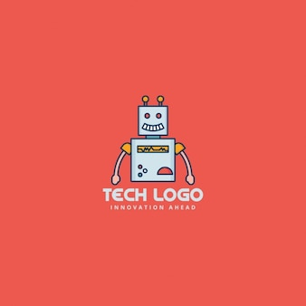 Robot logo on a red background