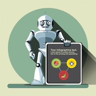 Robot with an infographic template