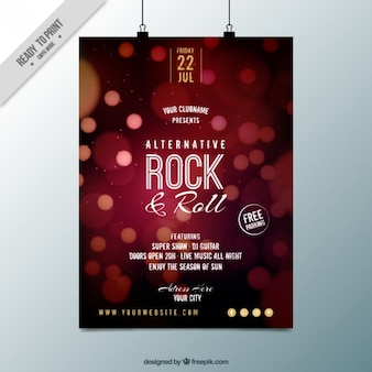 Rock and roll party poster with bokeh effect