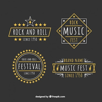 Rock music festival badges