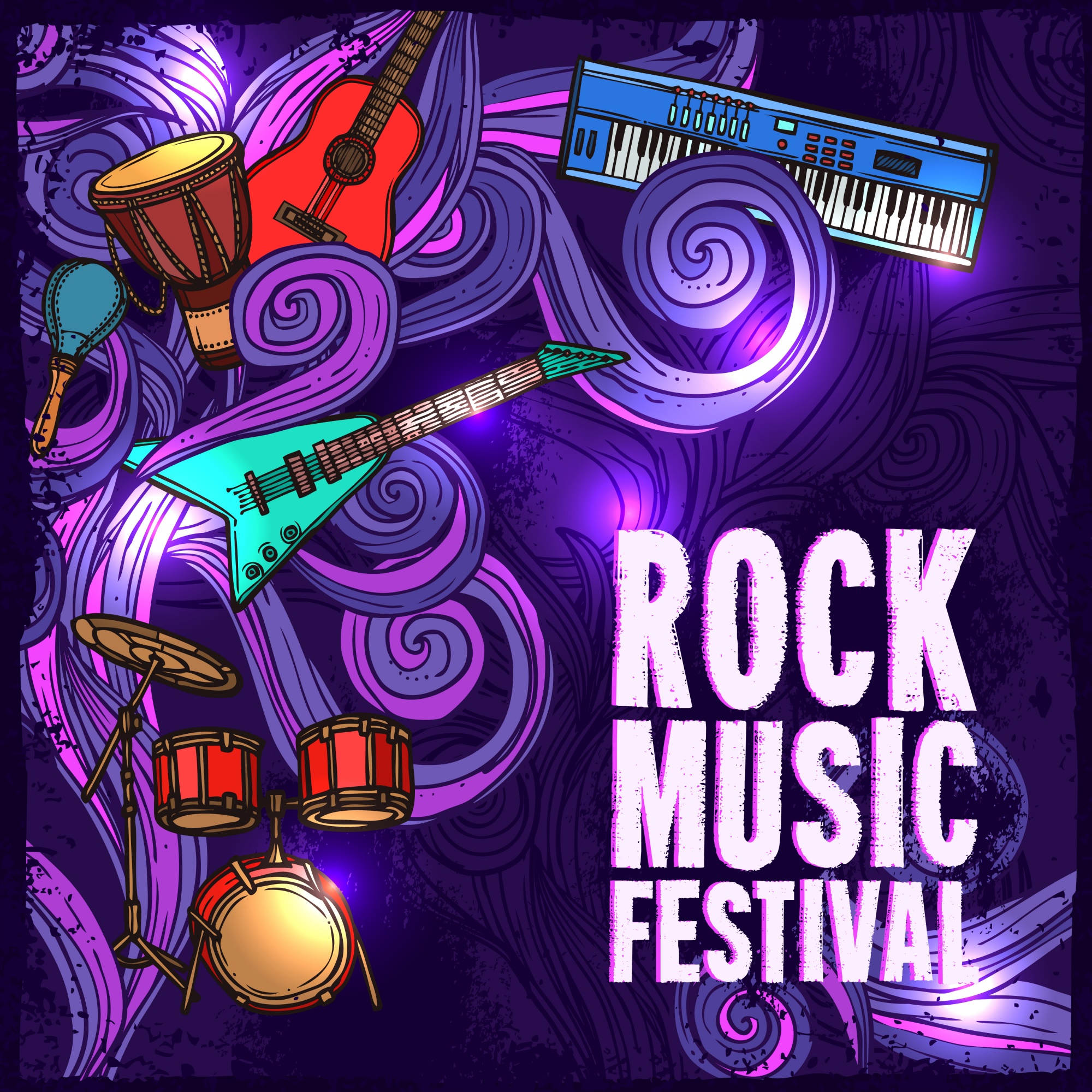 Rock music festival poster with electric guitar drums keyboard instruments vector illustration