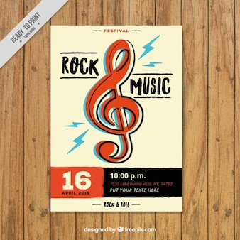 Rock music flyer with treble clef