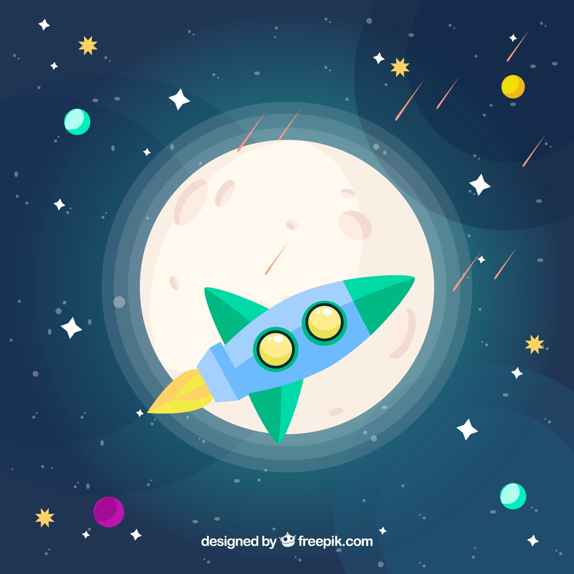 Rocket background and moon with stars in flat design