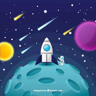 月のロケットの背景