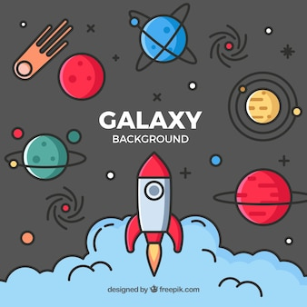 Rocket background with planets in linear style