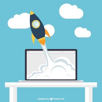 Rocket in laptop