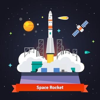 スペースポートパッドからのロケット打ち上げ