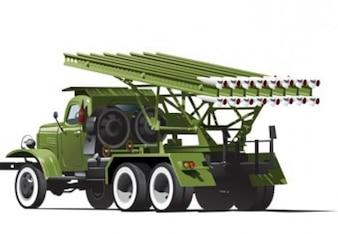 Rocket Platform Army Truck Vector