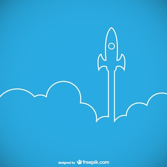 Rocket ship launch outline