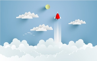 Rockets fly into space with stunning clouds. design paper art and crafts