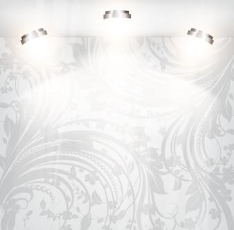 Rococo retro swirly white wallpaper