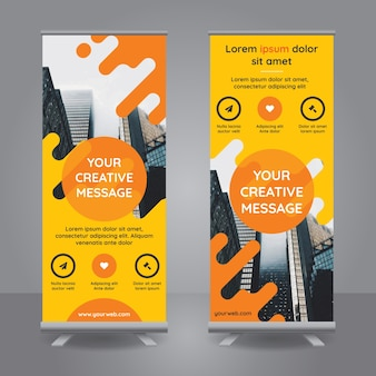Roll up banner with yellow shapes