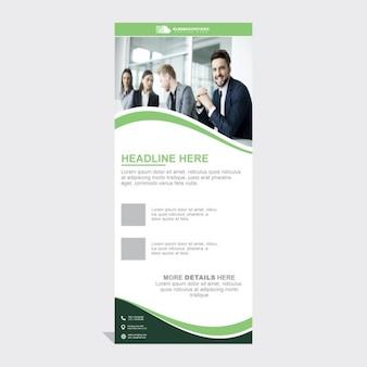 緑の波状形状を持つビジネスロールアップ