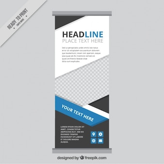 Roll up template with geometric shapes and blue details