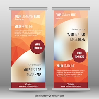 Roll up template with polygons in orange tones
