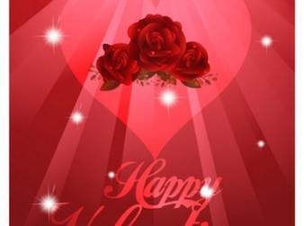 Romanti red background with roses and heart