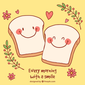 Romantic background with cute toast characters