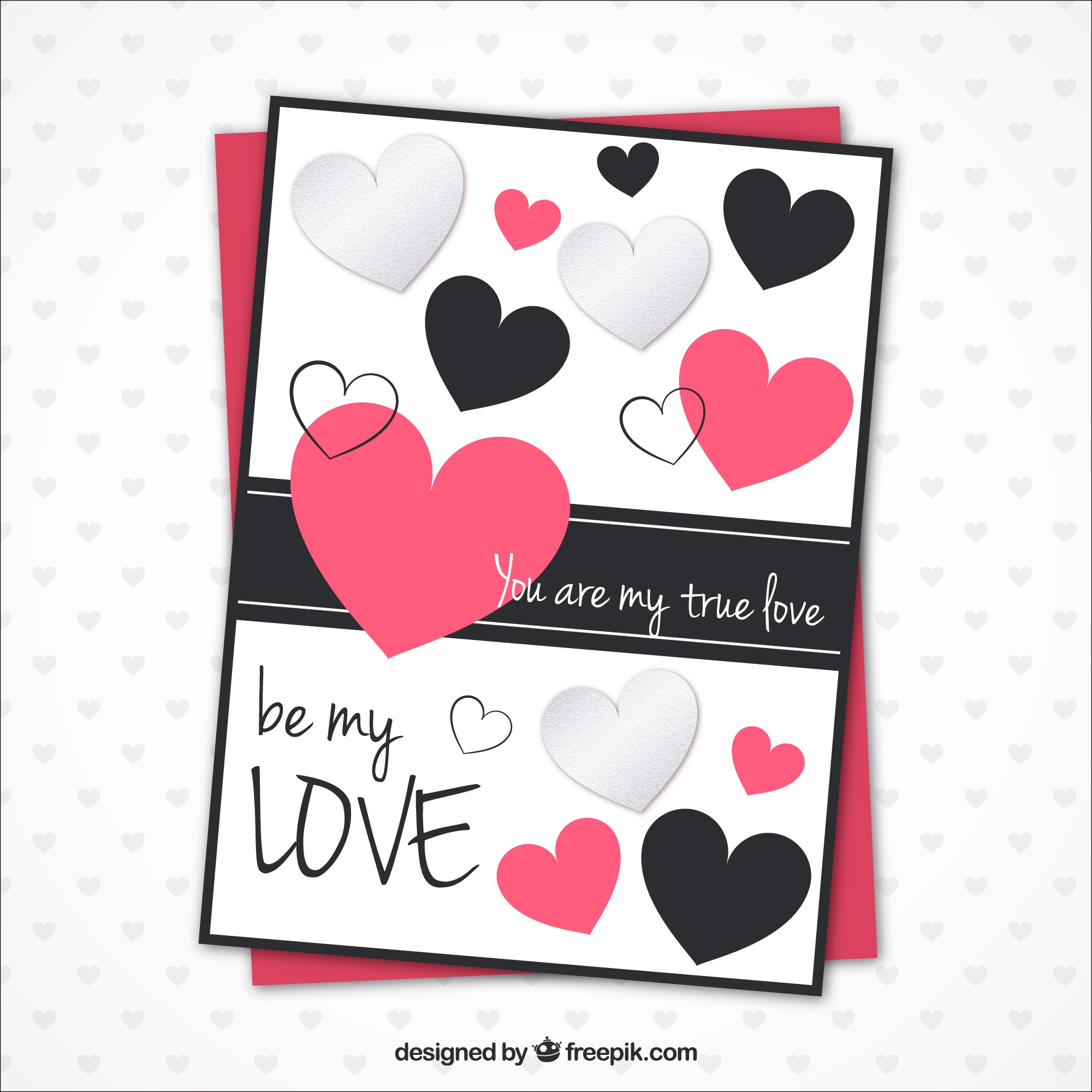 Romantic card template with decorative hearts