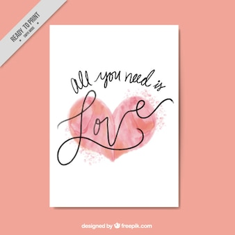 Romantic card with heart in red tones