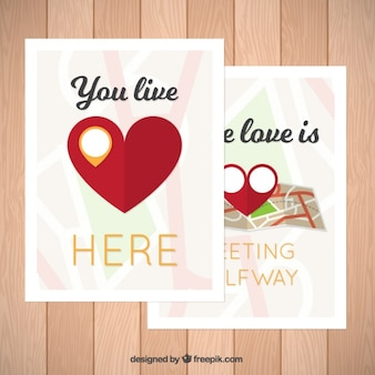 Romantic cards with big heart