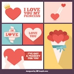 Romantic collage of hearts