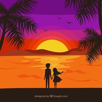 Romantic couple scene in front of the sea
