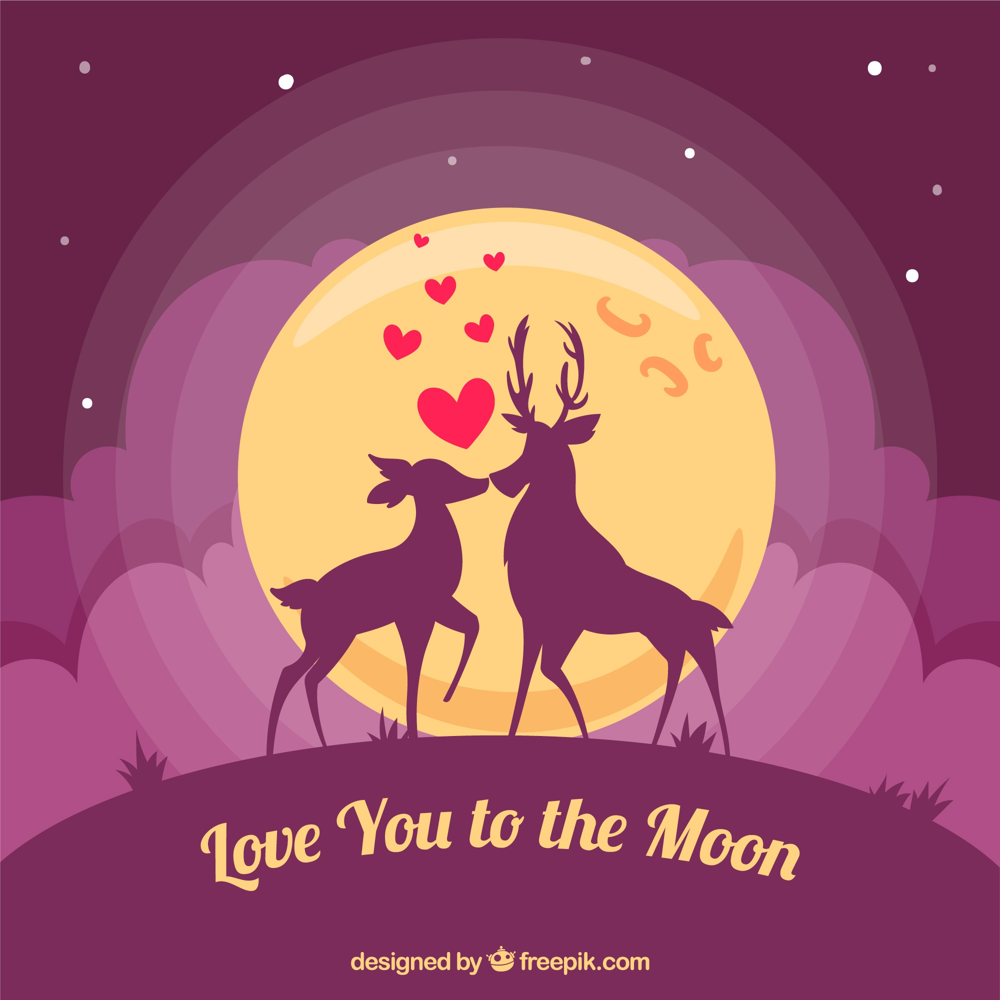 Romantic deer background with romantic message