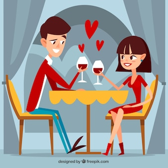 Romantic dinner scene in flat design