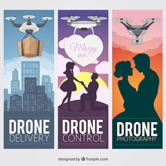 Romantic drone banners