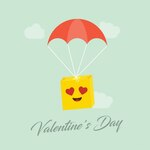 Romantic emoticon jumping on parachute