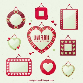 Romantic frames in flat design