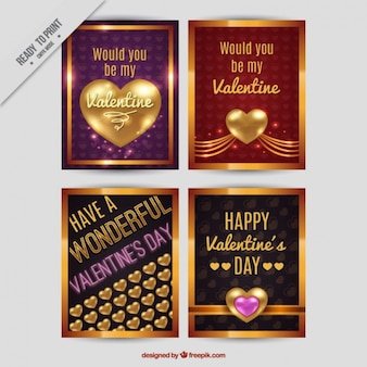 Romantic golden cards ready for valentine's day
