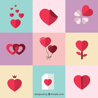 Romantic heart icons