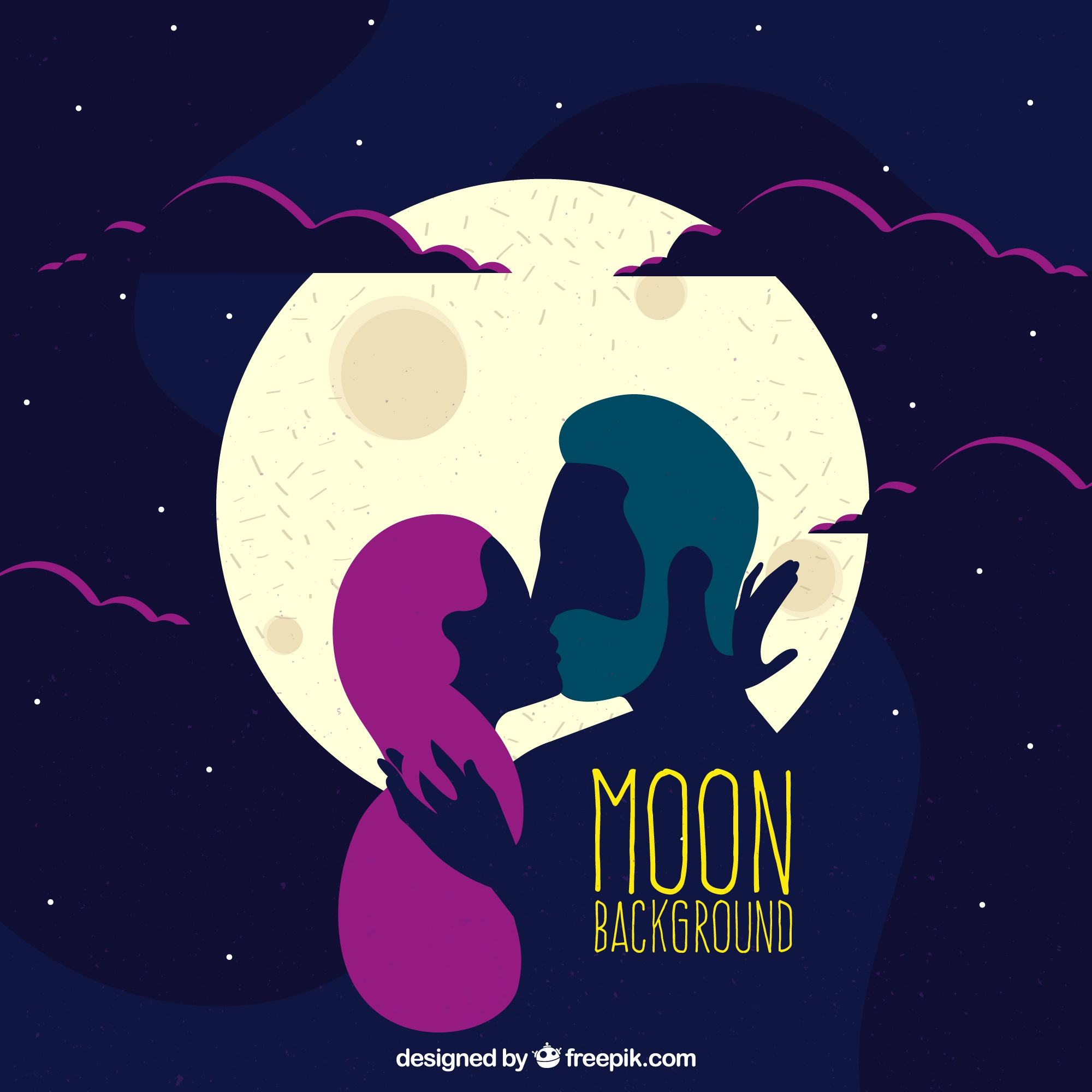 Romantic moon background and couple kissing