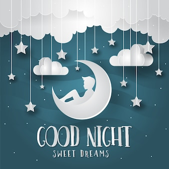 Romantic Paper Art Style Good Night Card Illustration