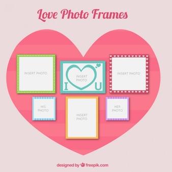 Romantic photo frames set in flat design