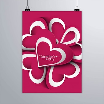 Romantic poster with hearts