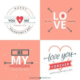 Romantic valentines day labels pack