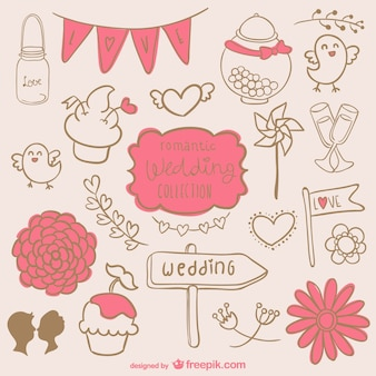 Romantic wedding graphics set