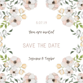 Romantic wedding invitation with flowers