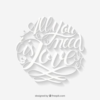 Romantic white lettering