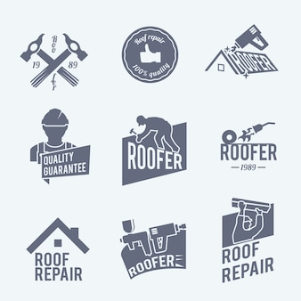 Roof repair logo templates collection