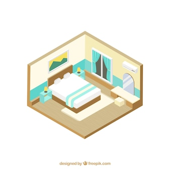 Room with furniture in isometric style