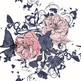 Rose background and illustrated leaves