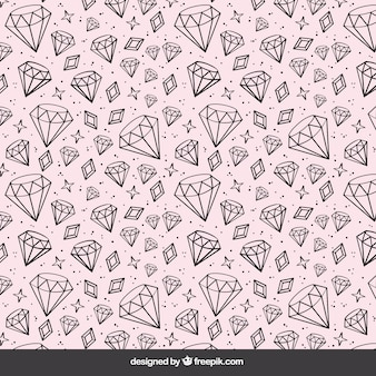 Rose background with hand drawn diamonds
