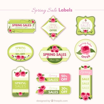 Roses spring sales stickers set