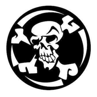 Rough skull with crossed bones